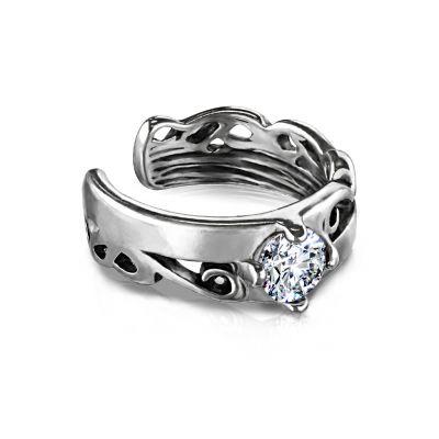 Fülgyűrű tribal mintával és csillogó kő díszítéssel