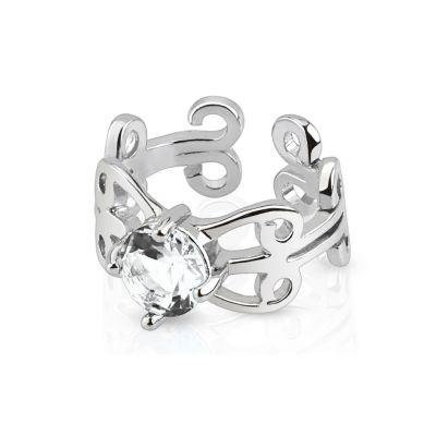 Fülgyűrű kővel és filigrán díszítéssel